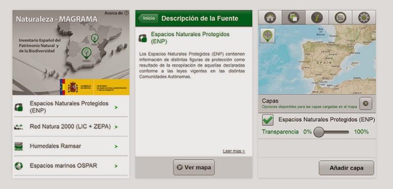 cartografía móvil naturaleza españa