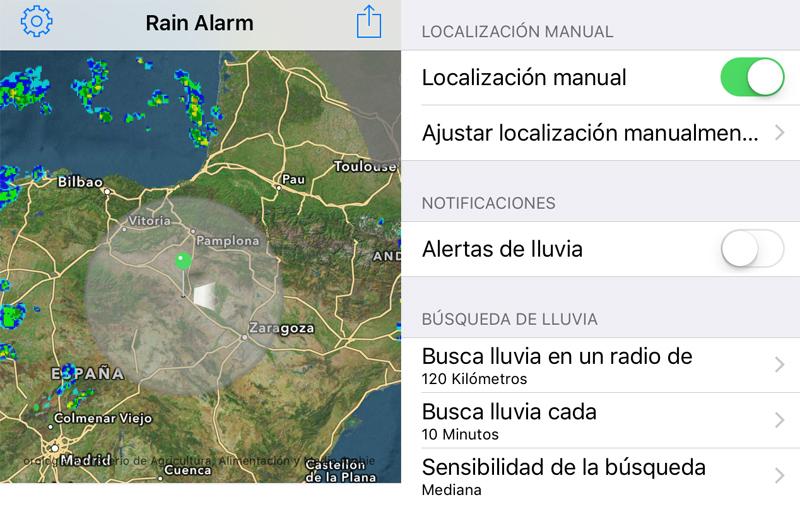 rain, alarm, ajustes