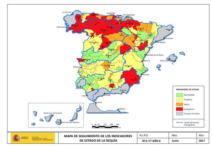 Mapa estado sequía junio 2017