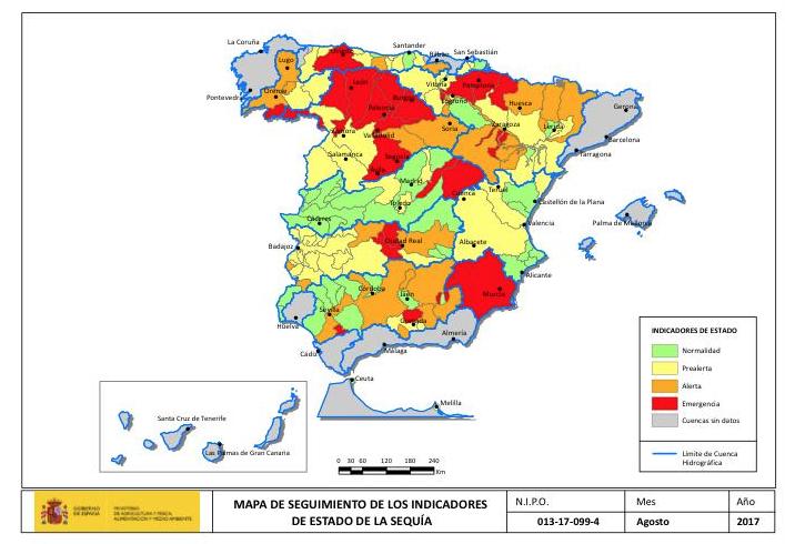 Mapa sequía agosto 2017