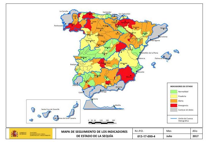 Mapa sequía julio 2017