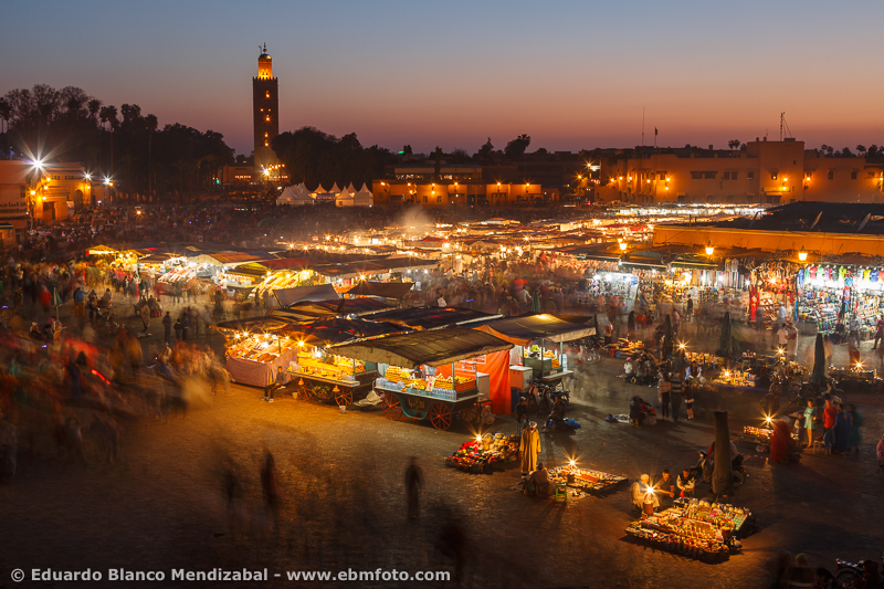 View of Jemaa El Efna square. Marrakech. Morocco. North Africa. Africa