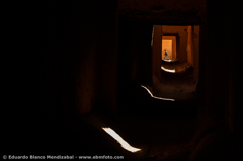 Alley and man. Ksar. Tamegroute. Morocco. Africa