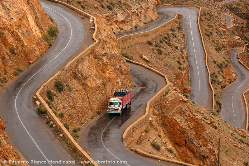 Truck and road. Dades Gorges. Dades Valley. Morocco. North Africa. Africa