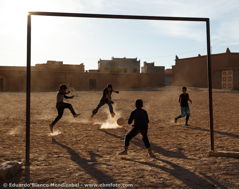 People playing football. Nkob. Morocco. North Africa.